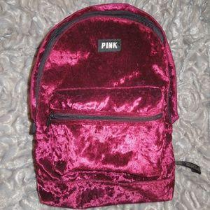Victorias Secret PINK Velvet Campus Ruby Backpack